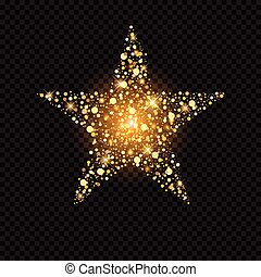 Golden star with sparkles isolated on black - Vector golden...