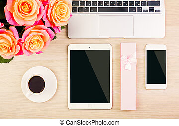 Womans table - Top view of designer womans desktop with...