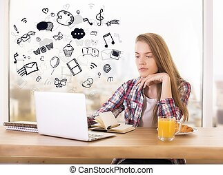 Social media and online communication concept with young...