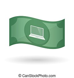 Illustration of a waving bank note with a laptop -...