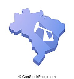 Illustration of an isolated Brazil map with a horsehead pump...