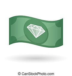 Illustration of a waving bank note with a diamond -...