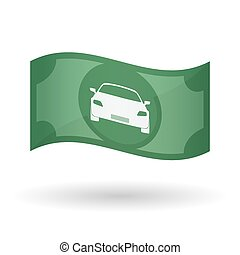 Illustration of a waving bank note with a car - Illustration...