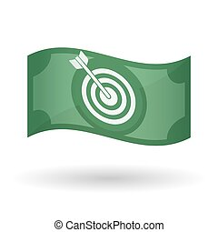 Illustration of a waving bank note with a dart board -...
