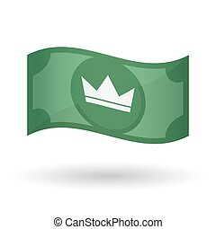 Illustration of a waving bank note with a crown -...