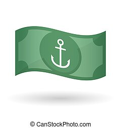 Illustration of a waving bank note with an anchor -...