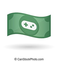 Illustration of a waving bank note with a game pad -...