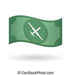 Illustration of a waving bank note with a war drone -...