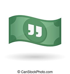 Illustration of a waving bank note with quotes -...
