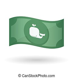 Illustration of a waving bank note with a whale -...