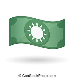 Illustration of a waving bank note with a sun - Illustration...