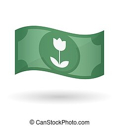 Illustration of a waving bank note with a tulip -...