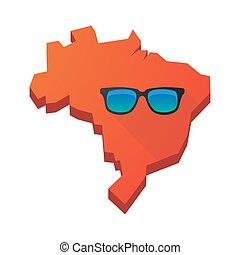 Illustration of an isolated Brazil map with a sunglasses...