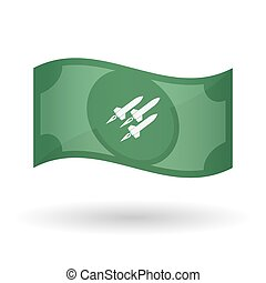 Illustration of a waving bank note with missiles -...