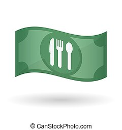 Illustration of a waving bank note with cutlery -...
