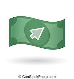 Illustration of a waving bank note with a cursor -...