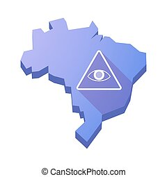 Illustration of an isolated Brazil map with an all seeing...