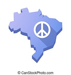 Illustration of an isolated Brazil map with a peace sign -...
