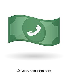 Illustration of a waving bank note with a phone -...