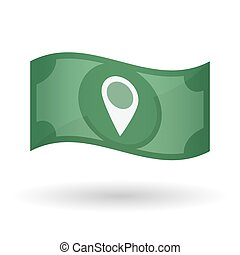 Illustration of a waving bank note with a map mark -...