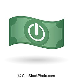 Illustration of a waving bank note with an off button -...
