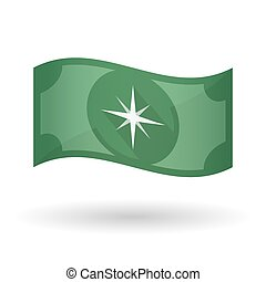 Illustration of a waving bank note with a sparkle -...