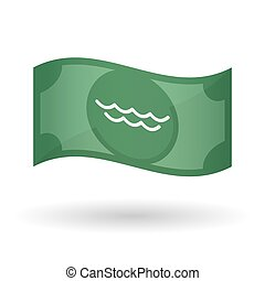 Illustration of a waving bank note with a water sign -...