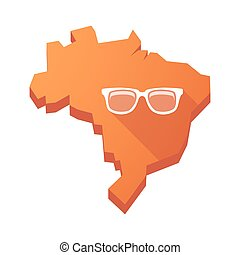 Illustration of an isolated Brazil map with a glasses -...