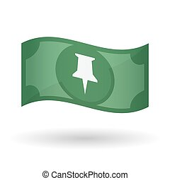 Illustration of a waving bank note with a push pin