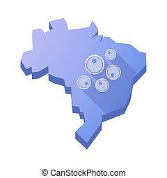 Illustration of an isolated Brazil map with oocytes -...