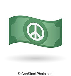 Illustration of a waving bank note with a peace sign -...
