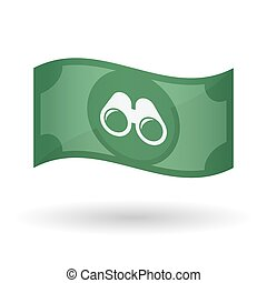 Illustration of a waving bank note with a binoculars -...