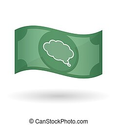 Illustration of a waving bank note with a comic cloud...