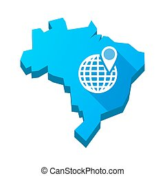 Illustration of an isolated Brazil map with a world globe