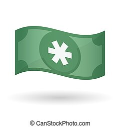 Illustration of a waving bank note with an asterisk -...