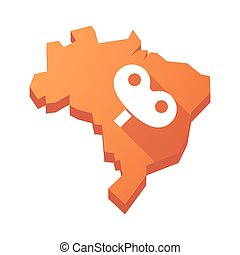 Illustration of an isolated Brazil map with a toy crank -...