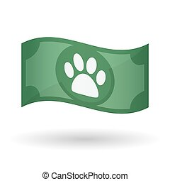 Illustration of a waving bank note with an animal footprint...
