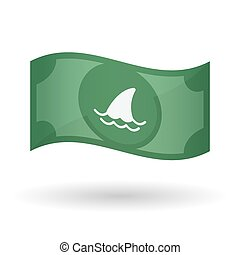 Illustration of a waving bank note with a shark fin -...