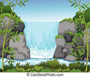 waterfall with landscape background - vector illustration of