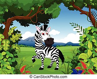 zebra cartoon in the jungle - vector illustration of zebra...