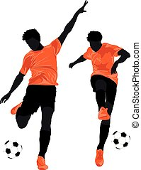 Football players in color vector format