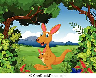 kangaroo with landscape background - vector illustration of...