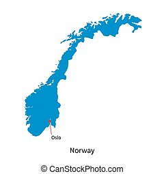 Detailed vector map of Norway and capital city Oslo