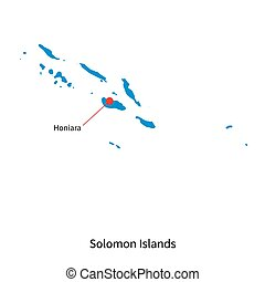 Detailed vector map of Solomon Islands and capital city...