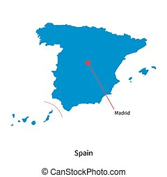 Detailed vector map of Spain and capital city Madrid