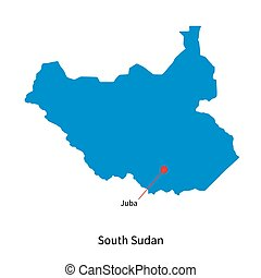 Detailed vector map of South Sudan and capital city Juba