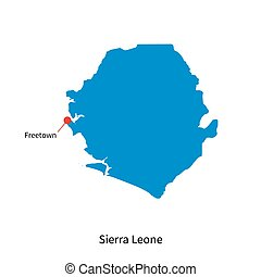 Detailed vector map of Sierra Leone and capital city...