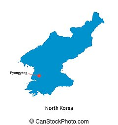 Detailed vector map of North Korea and capital city...