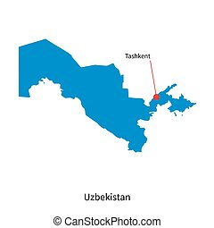 Detailed vector map of Uzbekistan and capital city Tashkent