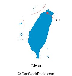 Detailed vector map of Taiwan and capital city Taipei